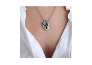 Shards of tourmaline jut out of this 9ct white gold Orgaya necklace by Susannah King Jewels