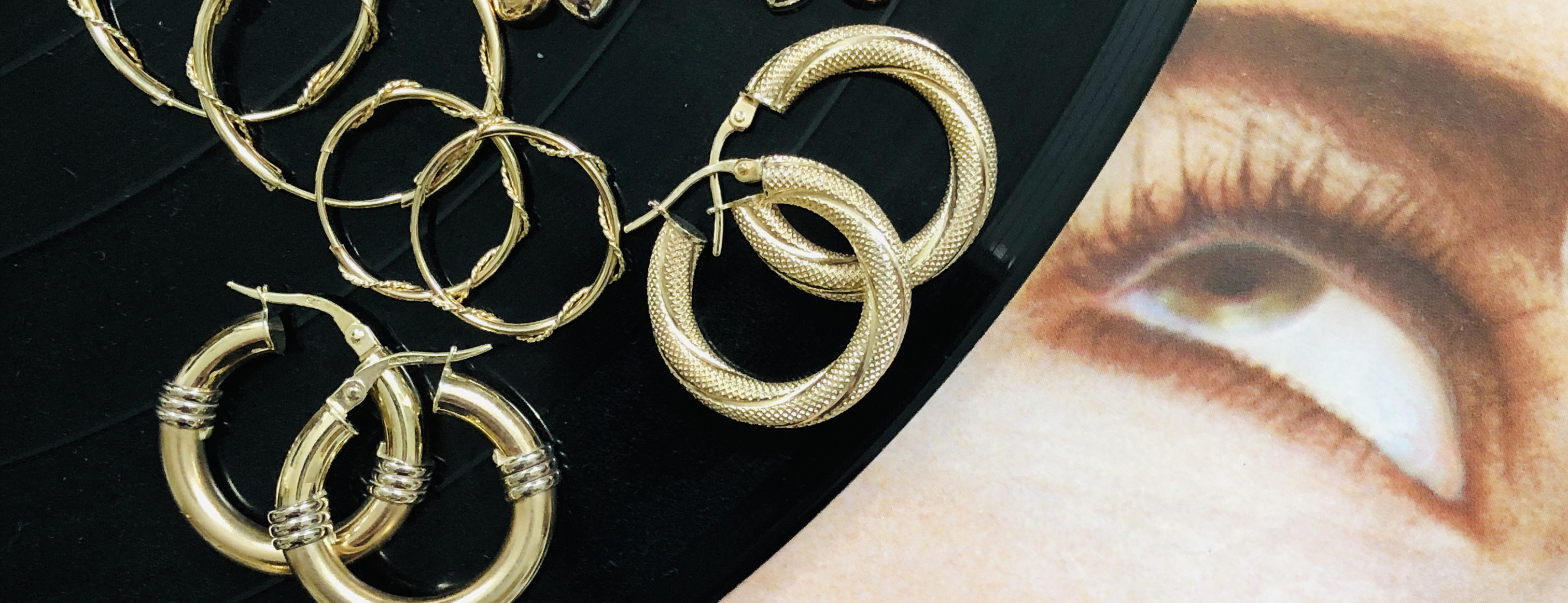A selection of vintage gold hoops at Baroque Rocks