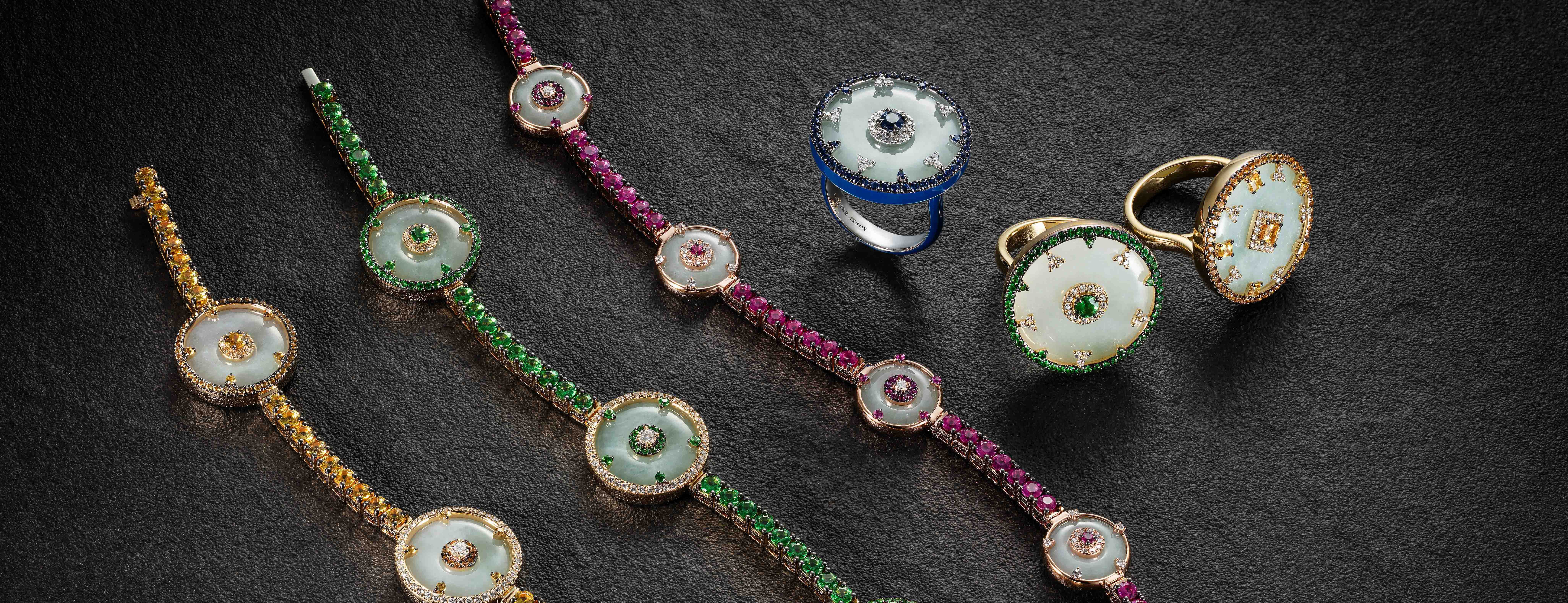 Nadine Aysoy gold Celeste collection set with white jade, diamonds and colourful sapphires
