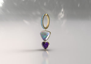 An opal and amythest earring from Andrey Yarden's new Wanderlust collection