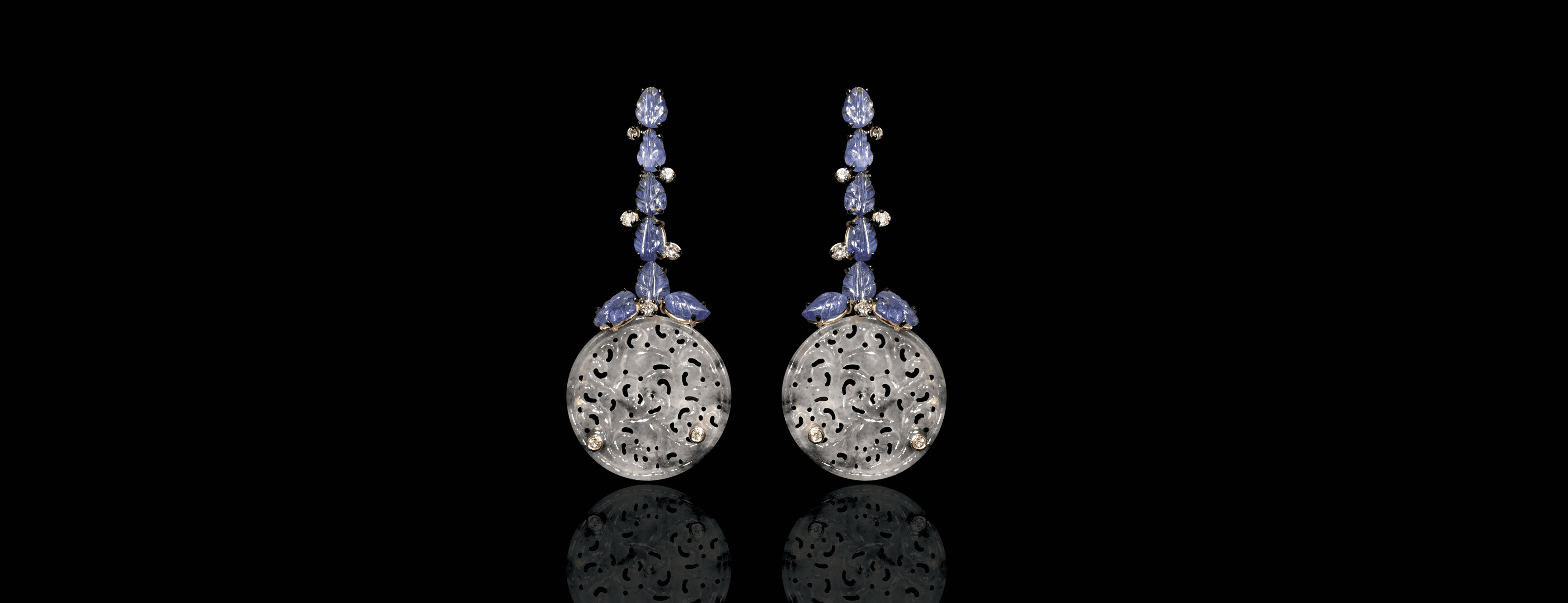 Verney gold Manon earrings decorated with diamonds, carved jade discs and sapphire leaves