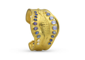 Loren Nicole 22ct yellow gold, moonstone and sapphire Dangerous Creature in The Nile cuff
