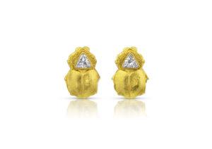 Loren Nicole yellow gold and diamond Scarab earrings