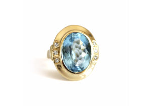 Vintage 14ct yellow gold, diamond and blue topaz Rockstar ring at Baroque Rocks