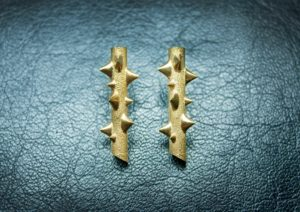 Yellow gold branch earrings from La Russie by Andrey Yarden