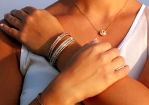 Alice van Cal gold, diamonds and yellow sapphire Union bracelets and Alice pendant