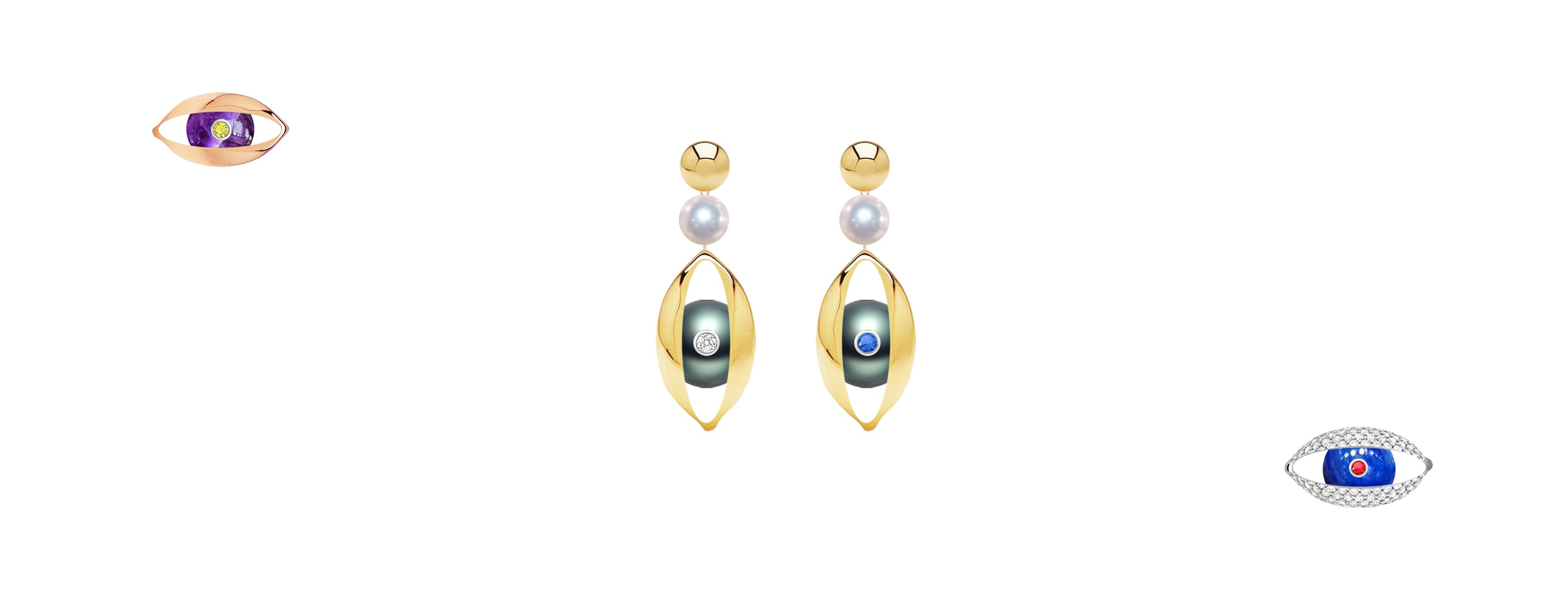 Zeemou Zeng 18ct yellow gold, Tahitain pearl, diamond and sapphire The Eye earrings