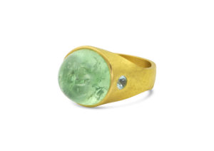 Loren Nicole 22ct yellow gold, tsavorite garnet and Paraiba tourmaline Roman Signet ring