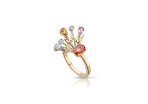 Aishleen Lester 18ct yellow and white gold Zadie ring with fancy coloured sapphire and diamonds