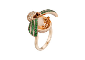 Runa gold, diamond and tsavorite Beetle ring with hidden compartment