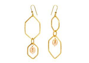 Kohatu + Petros gold vermeil and pearl Hex earrings