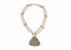 Kohatu + Petros gold vermeil, pearl and rutilated quartz necklace