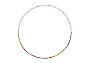 Alice van Cal 18ct gold, diamond and rainbow sapphire The Dusk & Dawn necklace