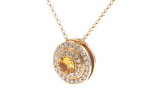 Alice van Cal 18ct rose gold, diamond and yellow sapphire The Alice, worn as a pendant