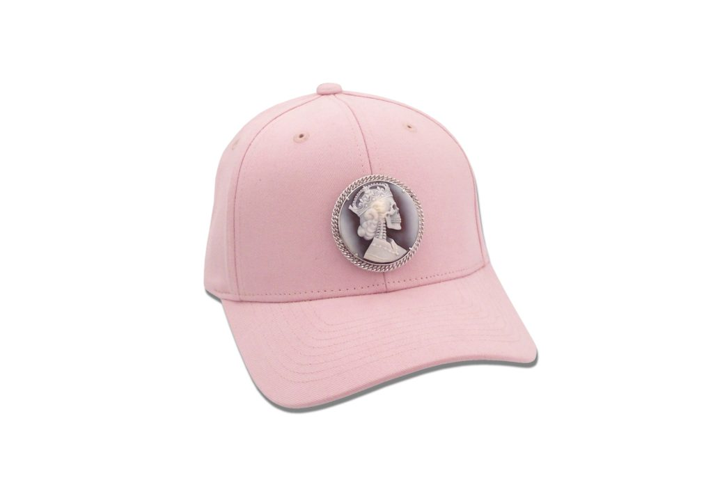 Amedeo pink cap with removeable skeleton queen cameo