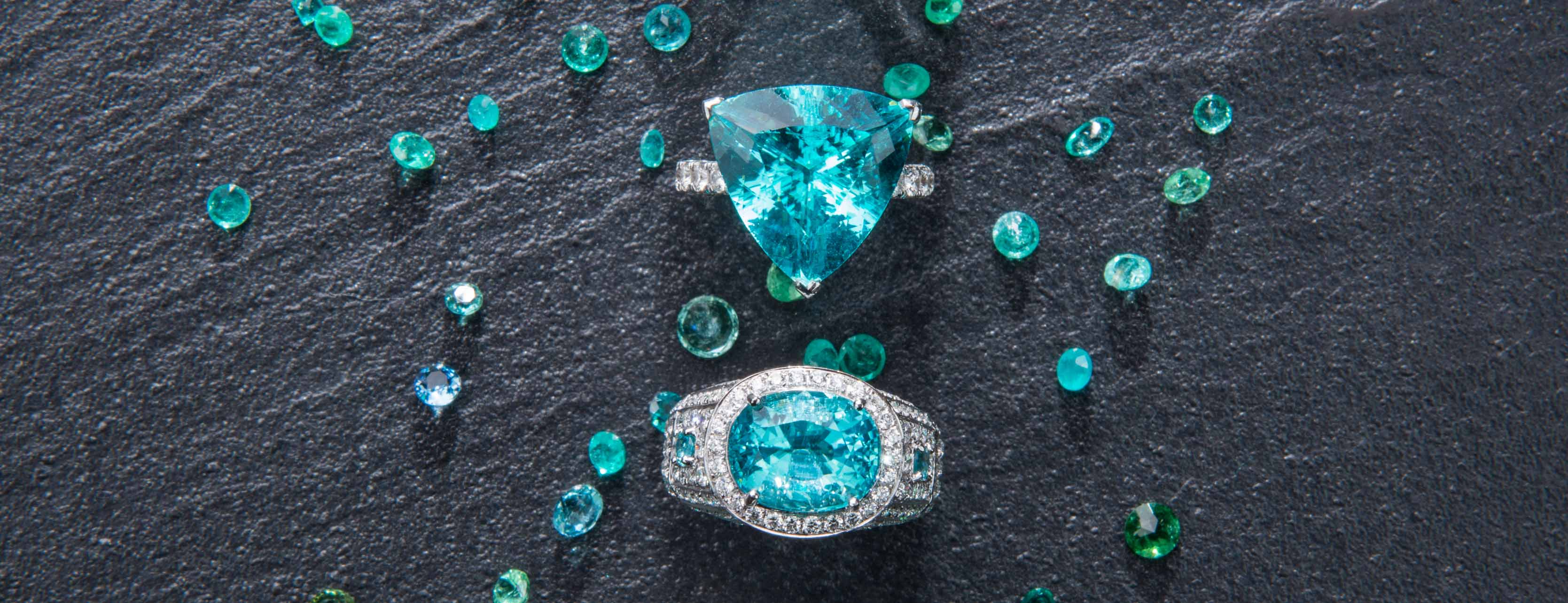 A collection of Paraiba tourmaline rings by Tayma