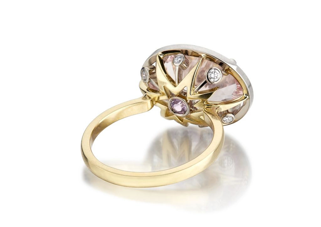 Le Ster 18ct yellow and white gold Kamuro ring set with a morganite, pink sapphire and diamonds