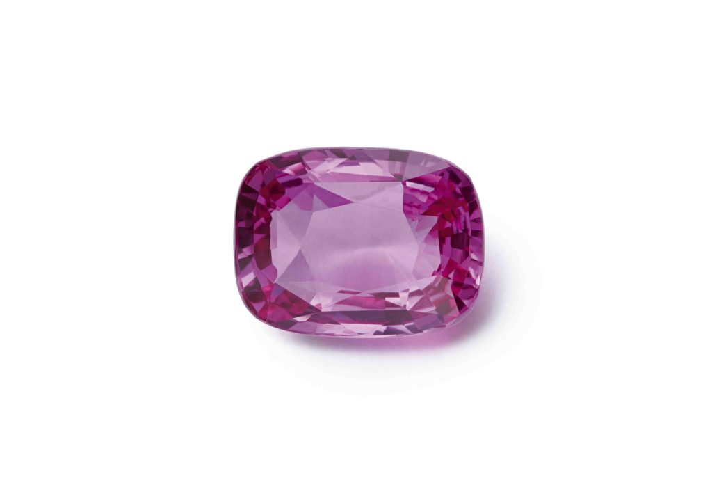 A cushion-cut 13.49ct Madagascan pink sapphire from the Chopard Exceptional Gemstones collection