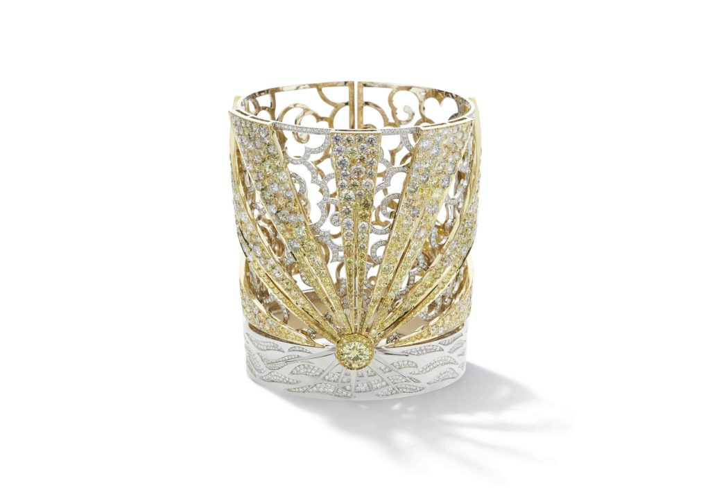 Boodles yellow gold and diamond Just Beyond the Setting Sun cuff