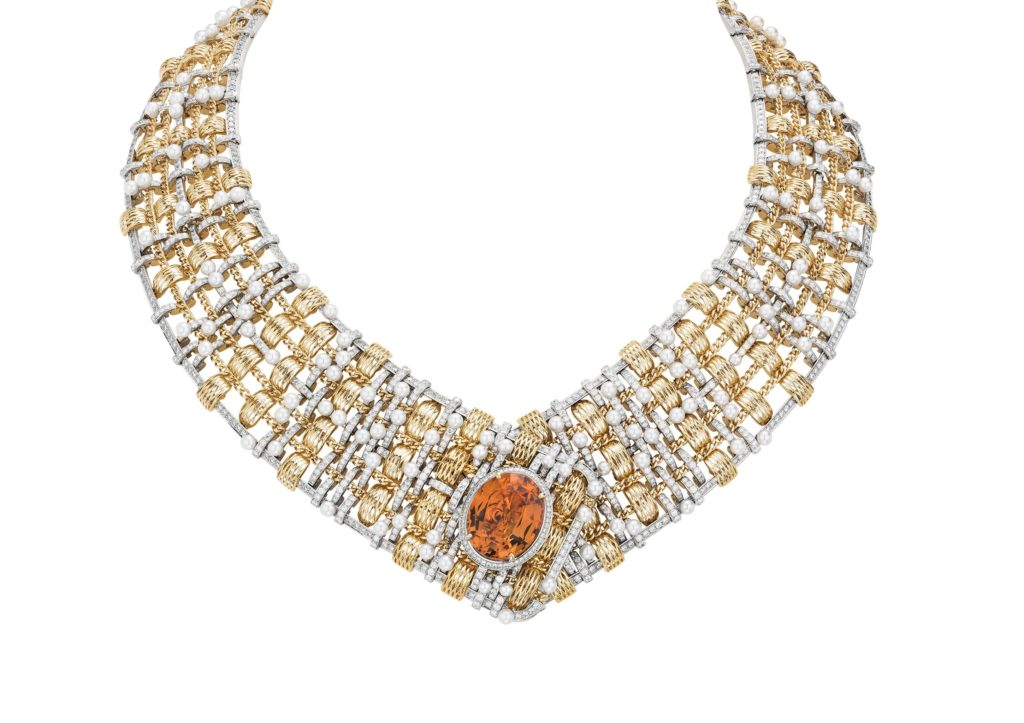 Chanel yellow gold and platinum Tweed D'Or necklace set with pearls, diamonds and a 20.4ct oval-cut imperial topaz