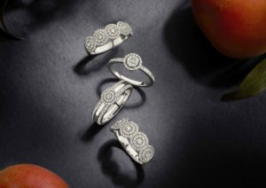Aria Designs double halo diamond and white gold rings