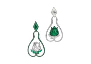 Boghossian 18ct white and rhodium-plated gold floral earrings set with emeralds and diamonds