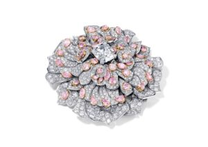 David Morris 18ct white gold floral brooch set with pink and white diamonds