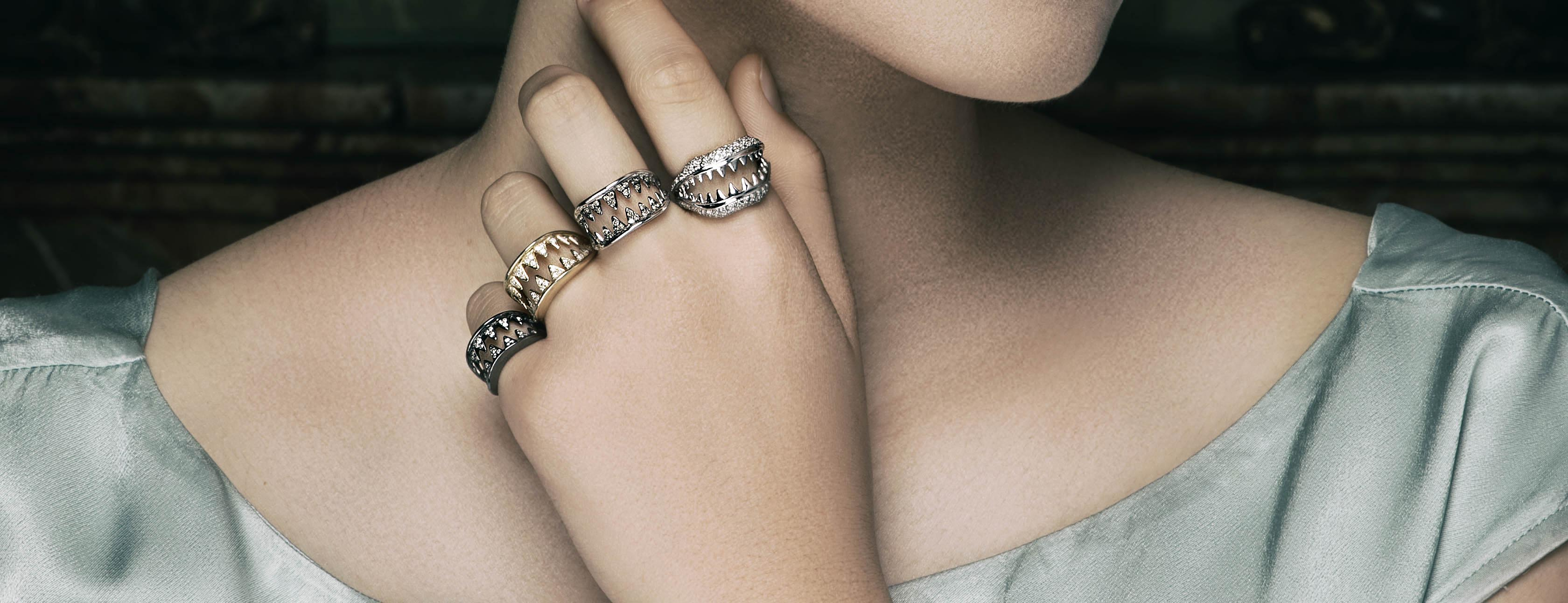 Rings from The Dangerous Kiss collection by Vanessa Pederzani