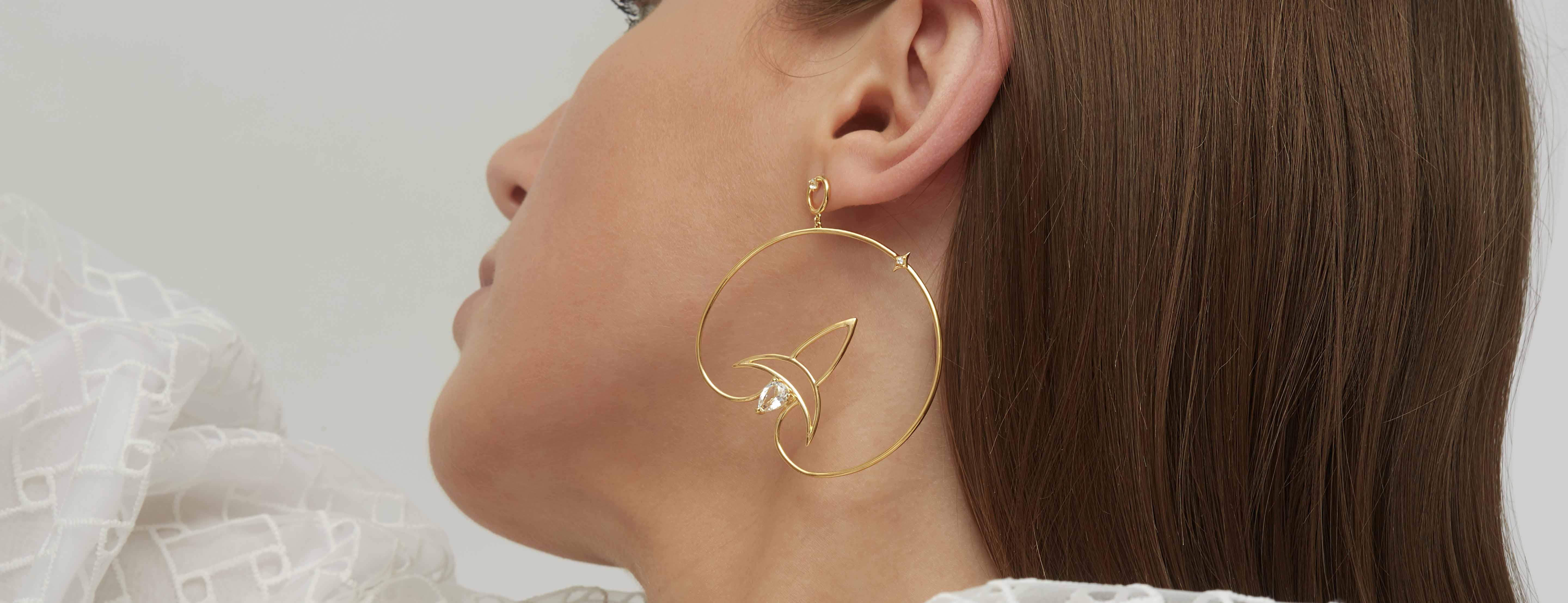 Ruifier gold-plated Cosmo Voyager earrings set with faux zircons