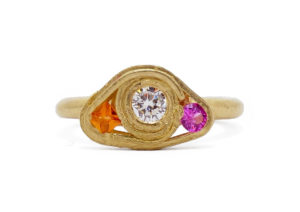 Fraser Hamilton 14ct yellow gold, diamond, pink sapphire and orange sapphire Wrapped ring