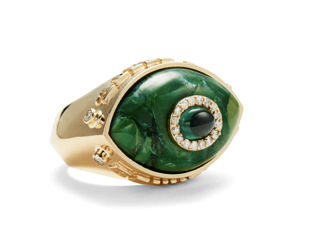 Marlo Laz 14ct yellow gold, Brazilian jade, tourmaline and diamond Je Porte Bonheur Eyecon ring