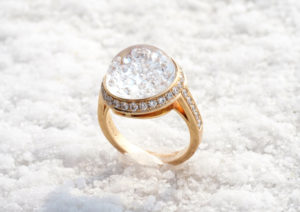 Royal Asscher 18ct rose gold and diamond snow globe diamond ring
