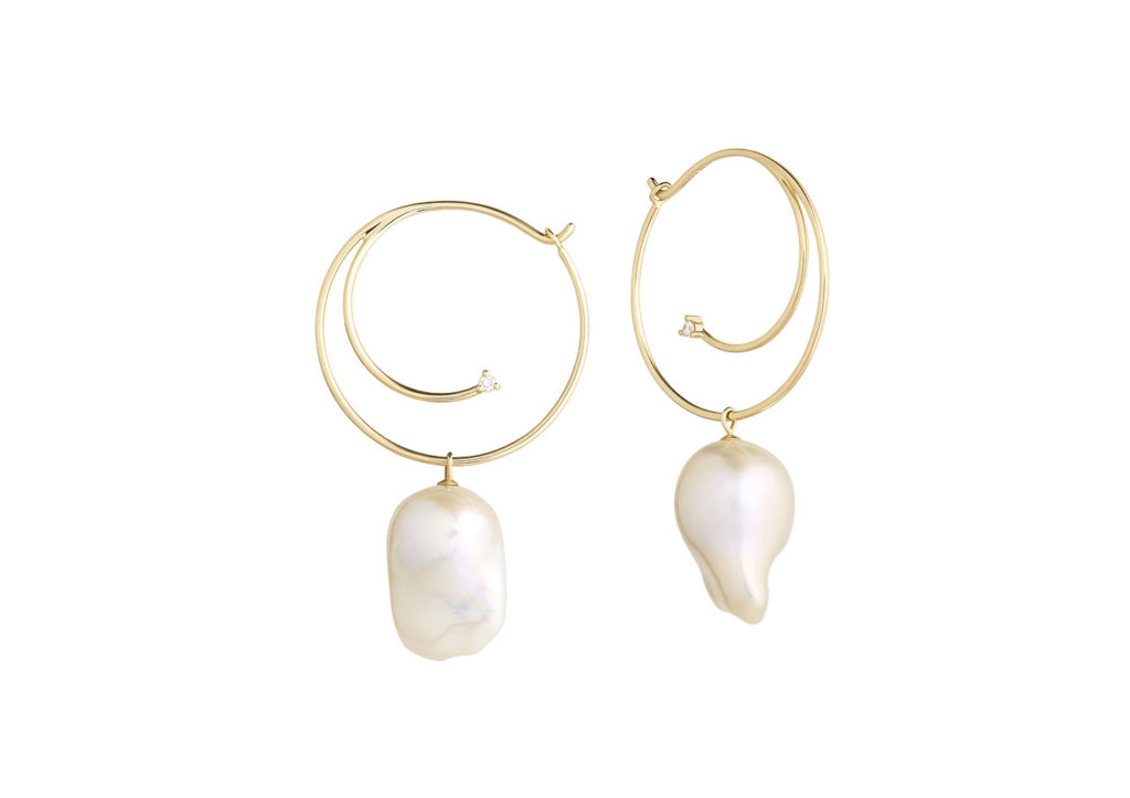 Ruifier 18ct yellow gold, diamond and baroque pearl Cosmo Vortex earrings