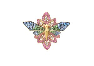 Sarah Zhuang 18ct gold, garnet and sapphire Dragonfly Goddess ring with 18ct gold, diamond and sapphire Flower jacket ring
