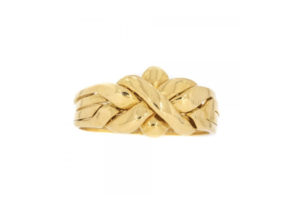 Vintage four-band 18ct yellow gold puzzle ring at Cavendish Jewellers