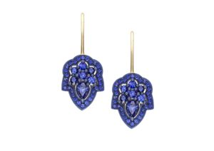 Ana de Costa 18ct yellow gold and sapphire earrings with rhodium-blackened settings