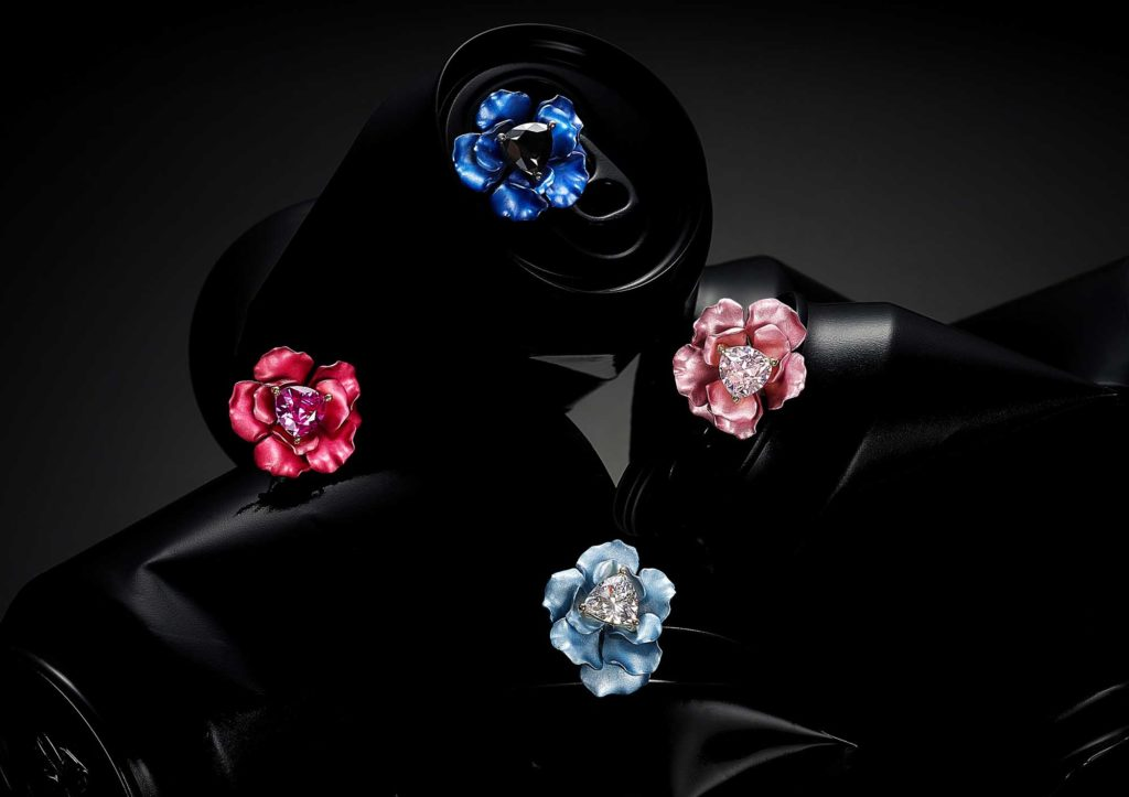 Anabela Chan aluminium and lab-grown gemstone Bloom rings, made from recycled drinks cans