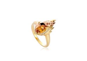 Clogau 18ct yellow gold, citrine, diamond and sapphire Fire Bird ring