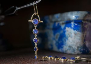 Dale Hernsdorf 18ct yellow gold and tanzanite earrings