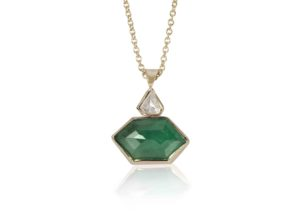 Ellie Air 18ct gold, diamond and emerald Garden necklace
