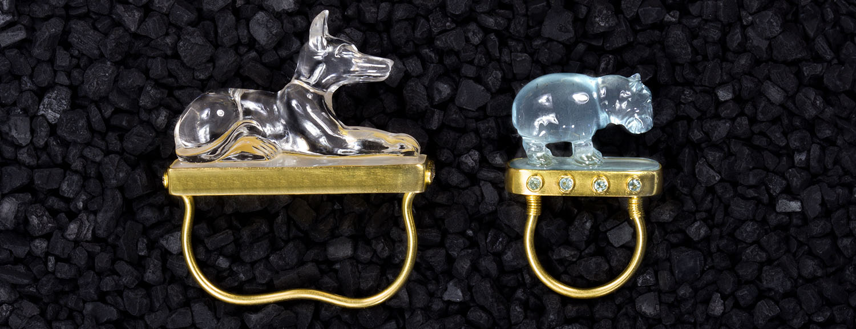 Loren Nicole carved gemstone and 22ct gold Nebu rings