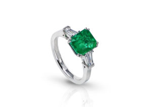 Lauren Addison 18ct white gold, emerald and diamond ring