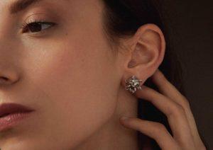 Le Kadeau 18ct white gold and diamond Cosmic earrings
