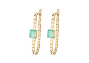 Mocielli 18ct yellow gold and emerald Shooting Star hoop earrings