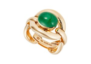 Nadine Aysoy 18ct yellow gold and emerald cabochon Catena ring