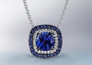 Omi Prive white gold, sapphire and diamond pendant