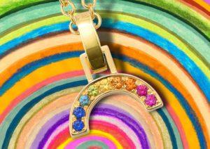 Robinson Pelham yellow gold and rainbow sapphire necklace