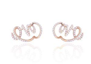 Sarah Ho 18ct rose gold and diamond Love earrings