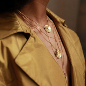 Edas gold-plated brass necklaces from the Black Glamour collection