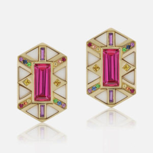 Harwell Godfrey 18ct yellow gold, white onyx inlay, rainbow sapphires and pink topaz Hexagon Shield earrings
